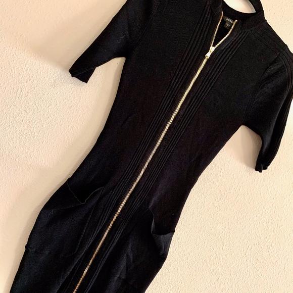 Guess Dresses & Skirts - GUESS | Kaden Ribbed Black Sweater Dress Gold Zip
